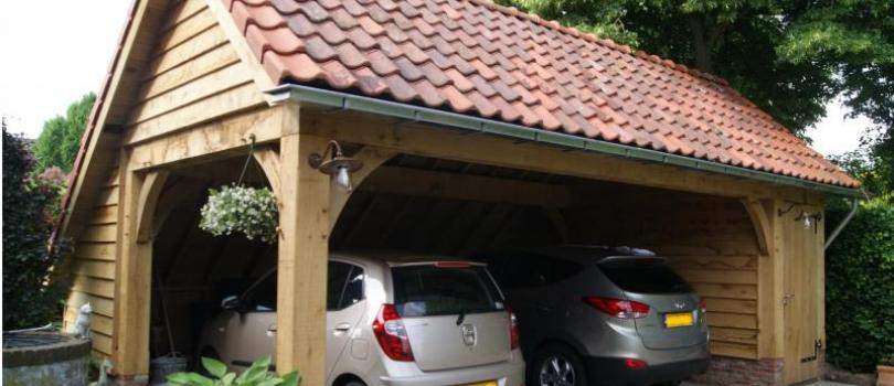 Eiken houten carport in Angeren